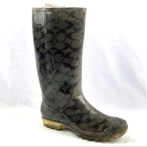 Coach Pixy Signature Gray & Black Rubber Boots